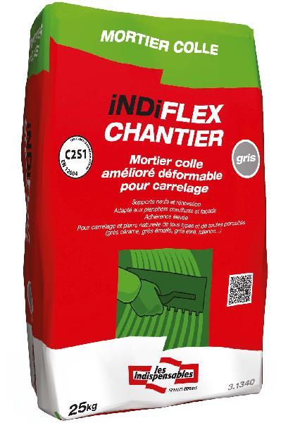 Mortier colle indiflexchantier gris sans poussiere sac for Mortier colle carrelage exterieur