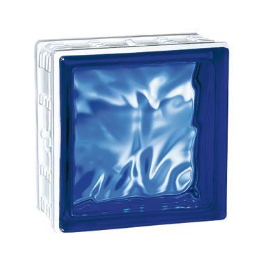 Brique de verre CUBIVER 2 nuagée bleue cobalt 19,8x19,8x8cm