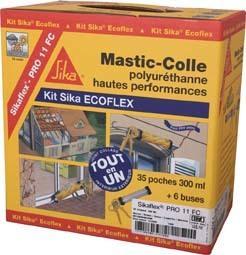 Mastic colle à prise rapide KIT ECOFLEX PU gris poche 300ml