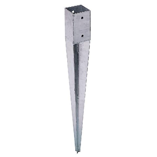 Ancre pour poteau zinc 70 mm x 70 mm 85x80mm 0,60m