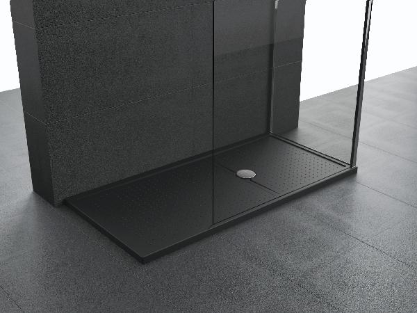 Receveur OLYMPIC PLUS noir à poser rectangulaire 140x80cm Ep45mm