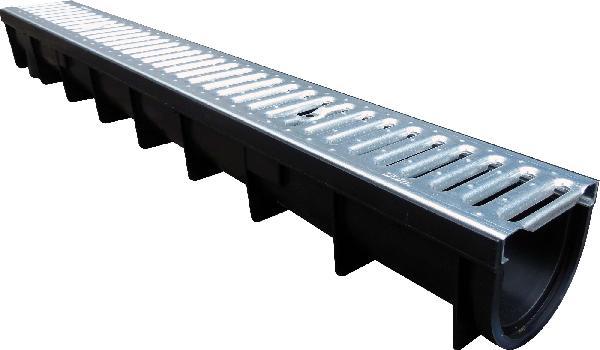 Caniveau PP STORA-LIGHT 1m + grille passerelle galva A15