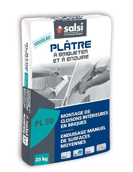 Plâtre traditionnel manuel PL50 à enduire et briqueter sac 25kg