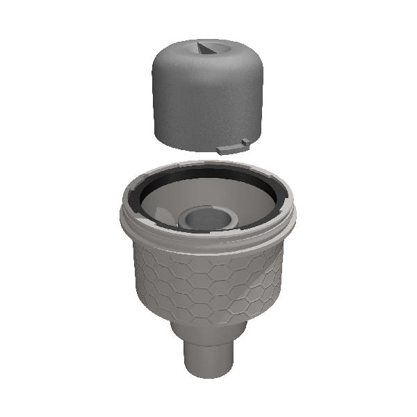 Siphon sol TUB-BA-S sortie verticale Ø50mm + obturateur odeurs
