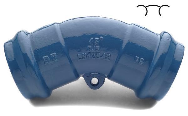 Coude fonte pour PVC Ø200 45°-1/8