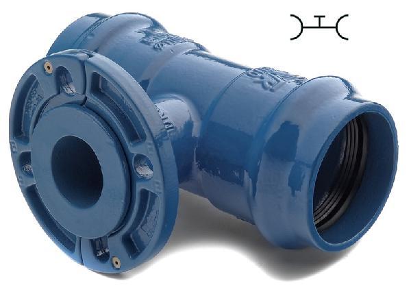 Té fonte pour PVC Ø160 tubulure à bride DN040