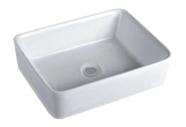 Vasque salle de bain ZOE à poser 48x37cm céramique blanc rectangulaire