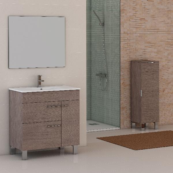 Meuble salle de bain CUP 1 porte et 2 tiroirs chêne 80x84x45cm