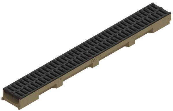 Caniveau polymère SELF 100 H5,5 + grille passerelle PP A15 1m