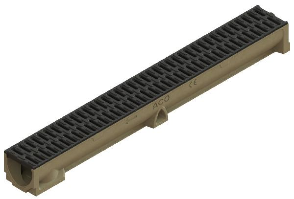 CANIVEAU BETON POLYMERE SELF 100 H.9,5 1M + GRILLE MICROGRIP A15 PMR