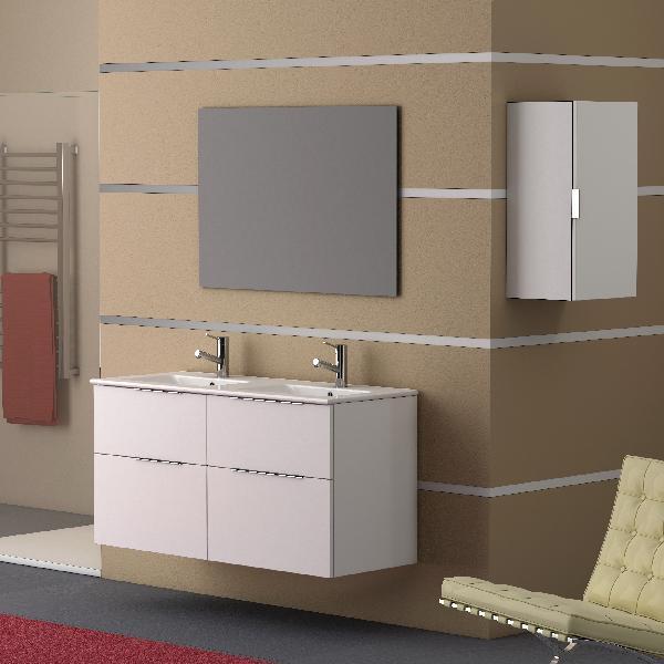 Meuble salle de bain 4 tiroirs GALSAKY Blanc 120x60x45cm
