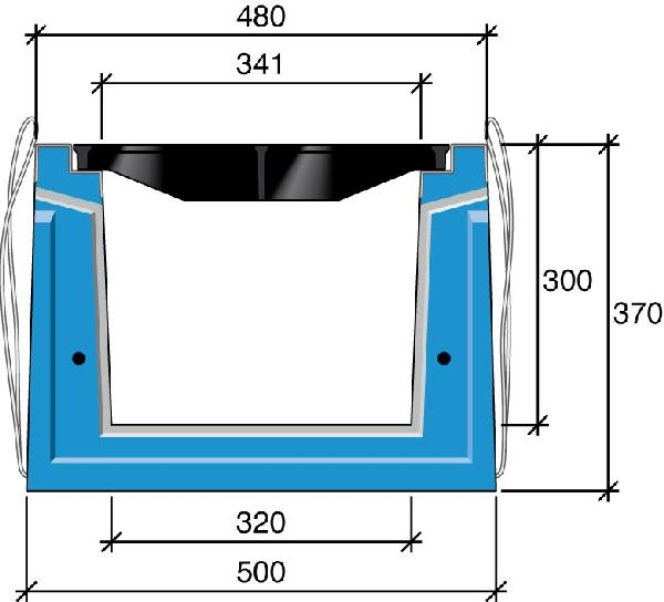 Caniveau béton HRI 40cm 2,25m D400