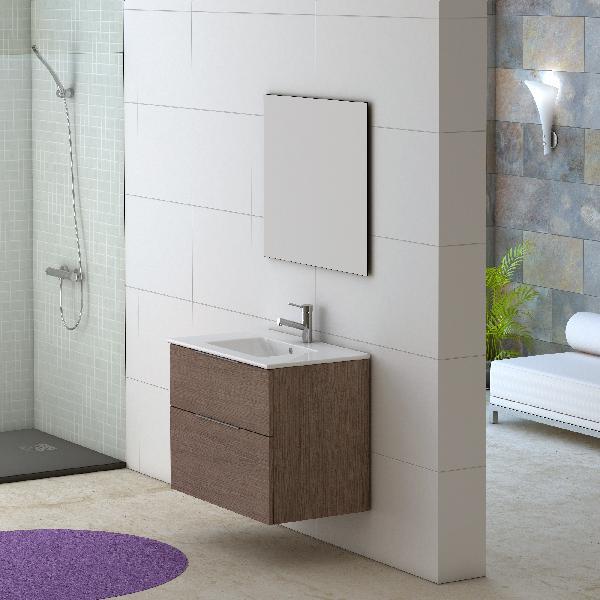 Meuble salle de bain GALSAKY Chêne moyen 80x60x45cm