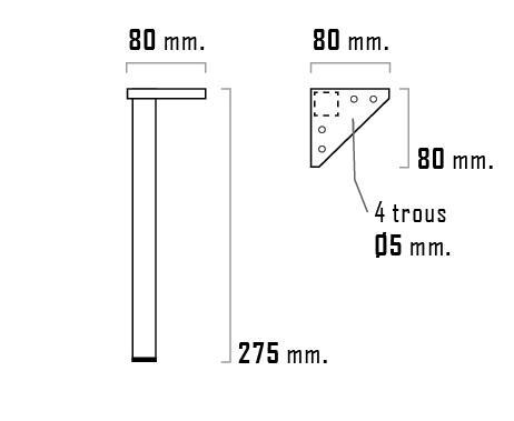 Pieds meuble de salle de bain GALSAKY Chromé 27,5cm jeu 2