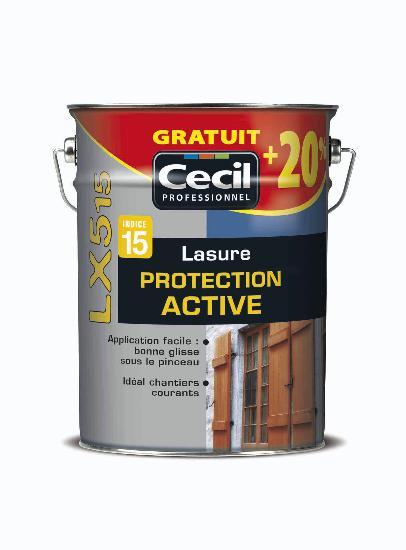 Lasure protection active LX 515 acrylique satinée incolore bidon 6L