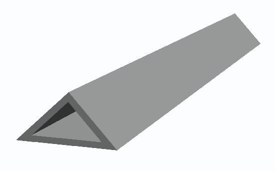Liteau triangulaire PVC N°2 angles vifs Ht15x15x21mm 2,50m