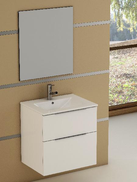 Meuble salle de bain 2 tiroirs GALSAKY Blanc 60x60x45cm