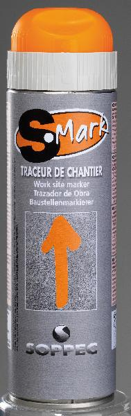 Traceur de chantier S-MARK G/C 500ml orange fluo