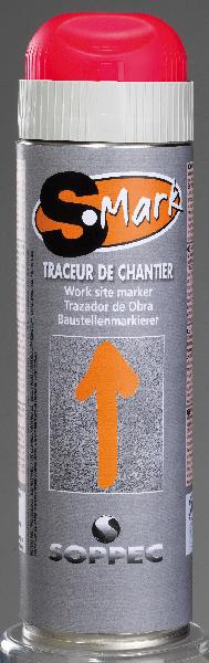 Traceur de chantier S-MARK G/C 500ml rouge fluo