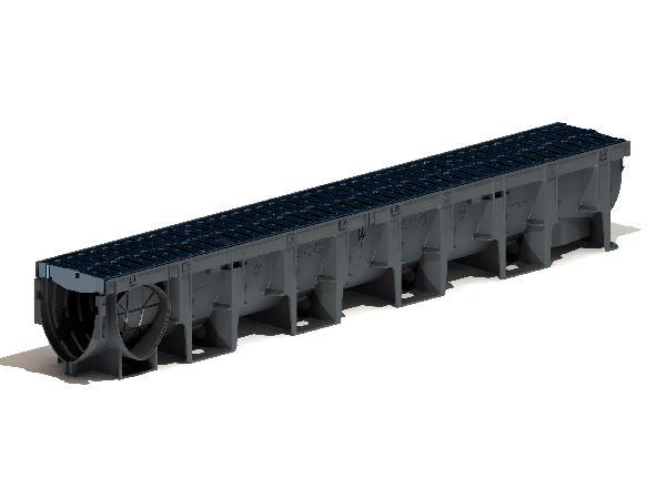 CANIVEAU XTRADRAIN X100C 0.0 H.100 + GRILLE PASSERELLE COMPOSITE C250