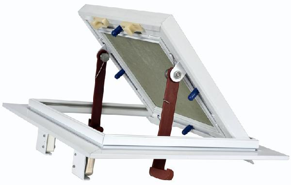Trappe visite cadre alu blanc plaque hydro poussez/lachez 300x300mm