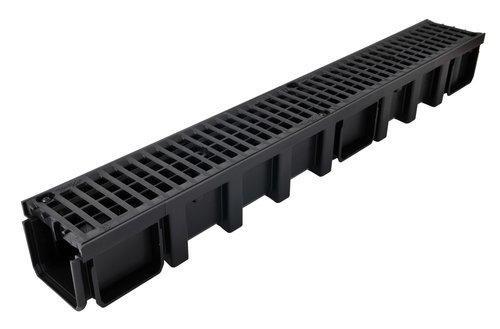 Caniveau PP CONNECTO CAN10BN +2 grilles composite noir B125 1m