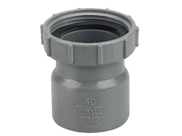 DOUILLE A ECROU PRISONNIER PVC EVACUATION NFME D40(40X49) MALE-FEMELLE
