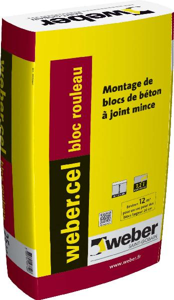 Mortier colle blocs à joints minces WEBER CEL BLOC ROULEAU sac 25Kg
