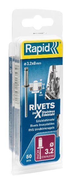 RIVETS HAUTES PERFORMANCES ALU Ø3,2X8MM + FORET BLISTER 50