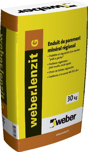 Enduit WEBER LENZIT G 62000 blanc sac 30Kg