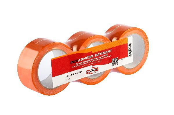 Adhésifs PVC LES INDISPENSABLES orange 50x33m lot 3 rouleaux