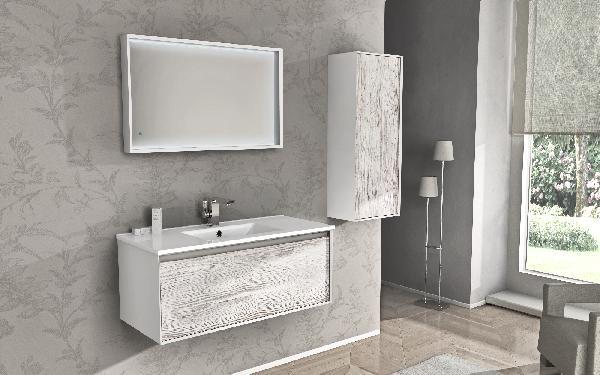 meuble sous vasque salle de bain venus pin blanchi 46x100x40cm. Black Bedroom Furniture Sets. Home Design Ideas