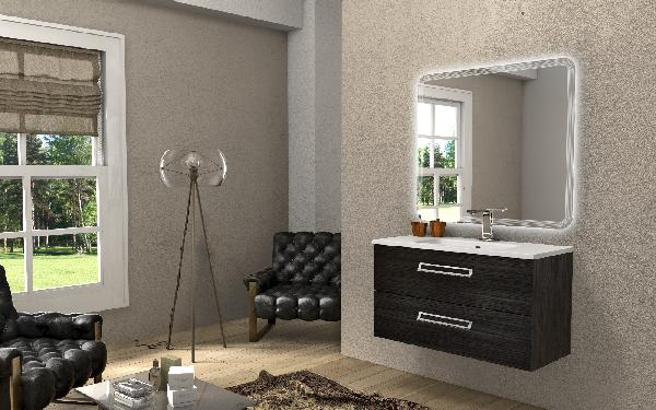 meuble salle de bain sous vasque boston gris fonc 46x100x55cm. Black Bedroom Furniture Sets. Home Design Ideas
