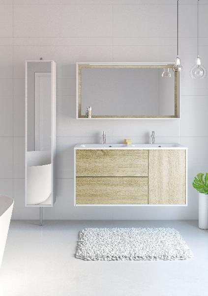 miroir cadre clairant newport ch ne sand 120x16x156x65cm. Black Bedroom Furniture Sets. Home Design Ideas