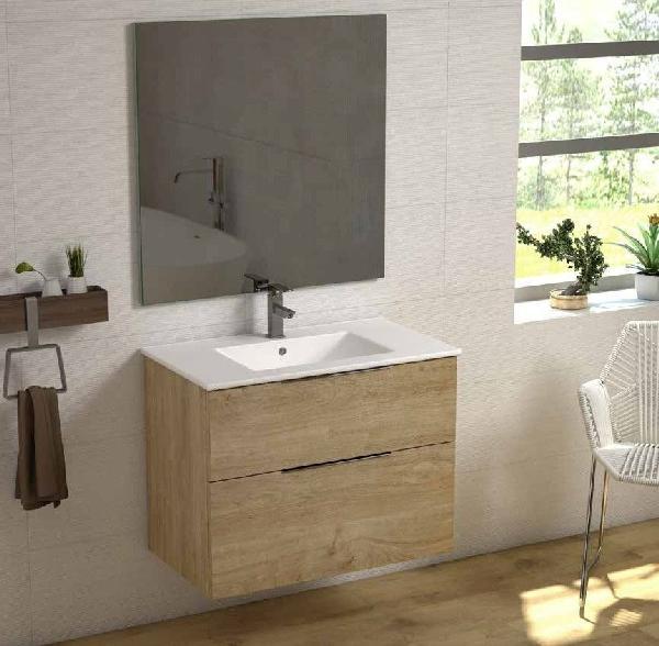 Meuble salle de bain 2 tiroirs GALSAKY Chêne naturel 60x60x45cm