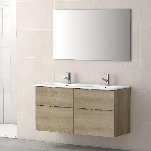 Meuble salle de bain 4 tiroirs GALSAKY Chêne naturel 120x60x45cm