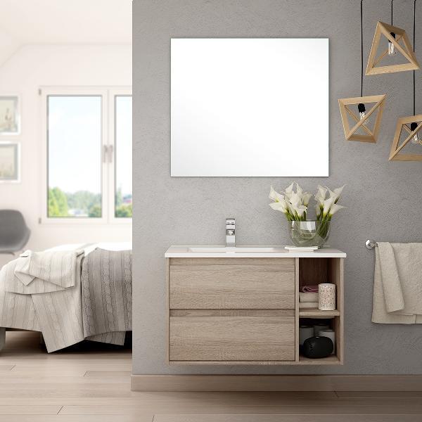 Meuble salle de bain avec vasque et miroir VENUS chêne cambrian 80cm