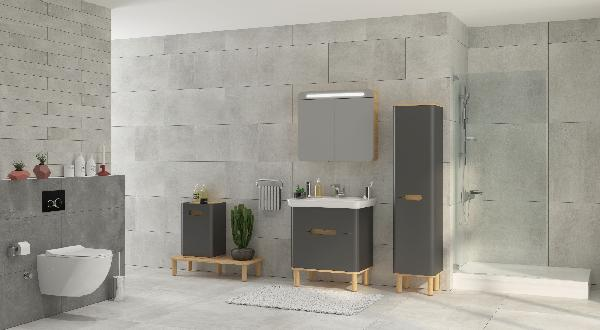 Armoire salle de bain SENTO 2 portes anthracite 40x157,5x35cm