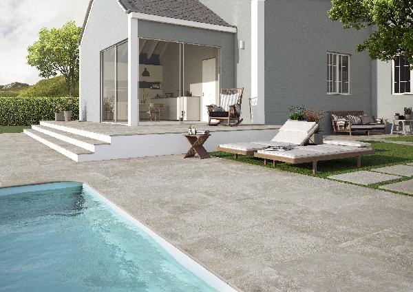 Carrelage terrasse RUE DE ST CLOUD greige 59,5x59,5cm Ep.20mm