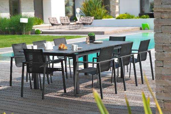 TABLE MIAMI GRIS ANTHRACITE 100X180/240CM