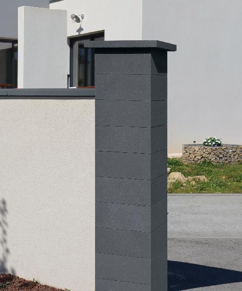 Pilier complet béton PLATINIUM noir sans insert 39x39x172cm
