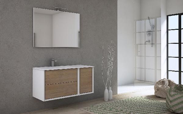 Meuble sous vasque 2 tiroirs BELLAGIO chêne tabac 70x46x48cm