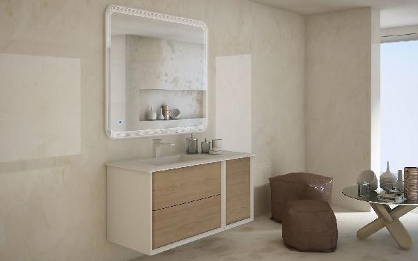 Complément meuble sous vasque 1 porte BELLAGIO chêne tabac 35x46x48cm