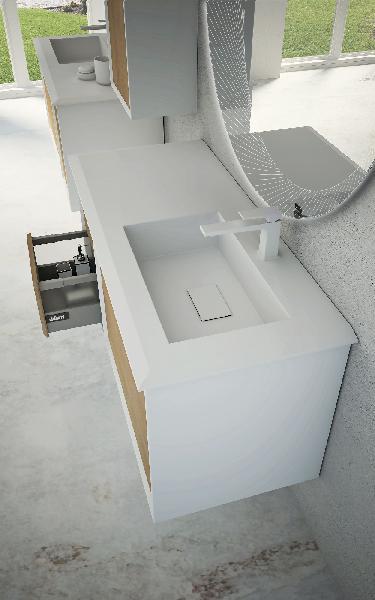 Plan vasque BELLAGIO droite résine blanc mat 46x106x1,6cm