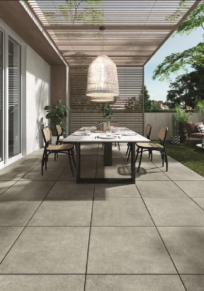 Carrelage terrasse NOVEMBER gris clair rectifié 60x60cm Ep.20mm