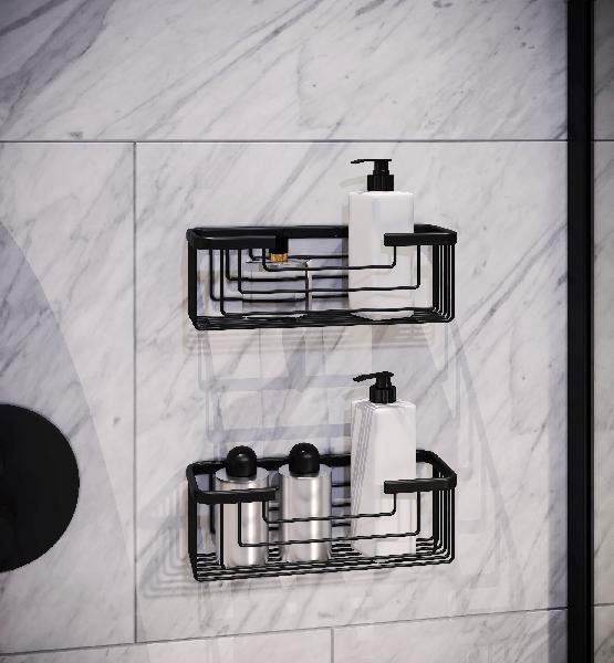 Porte savon à fixer 10,2x25,2x8,6cm noir acier inoxydable