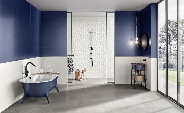 Faïence décor GENESIS leaf white mat 35x100cm Ep.10,5mm