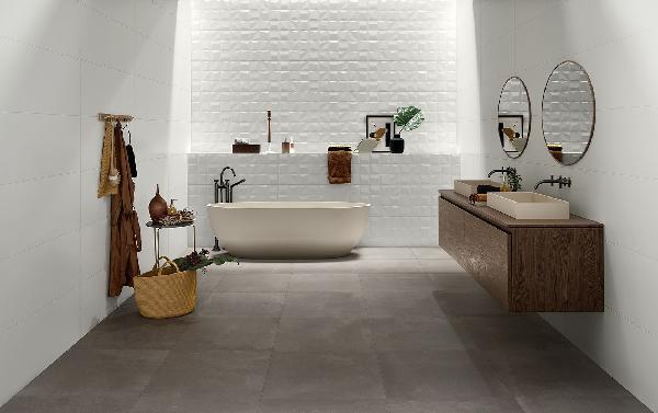 Faïence décor GENESIS rise white mat 35x100cm Ep.10,5mm