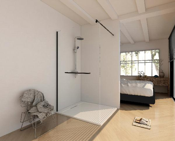 Paroi fixe pour douche à l'italienne SICILIA 100x205cm Ep.6mm noir mat