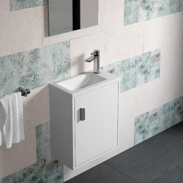 Lave mains mural PYNKY avec miroir mélaminé blanc 40x50x23